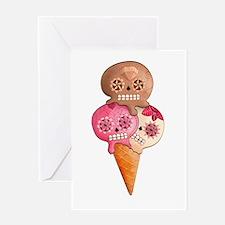 El Dia de Los Muertos Ice Cream Greeting Cards