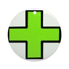Neon Green Medical Cross (Bold) Ornament (Round)