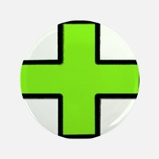 "Neon Green Medical Cross (Bold) 3.5"" Button"