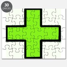 Neon Green Medical Cross (Bold) Puzzle