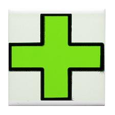 Neon Green Medical Cross (Bold) Tile Coaster