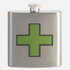 Neon Green Medical Cross (Bold) Flask