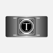 Deco Monogram T Aluminum License Plate