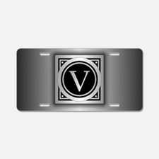 Deco Monogram V Aluminum License Plate