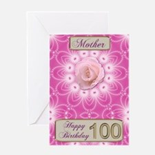 100th Birthday, for Mother with a rose Greeting Ca