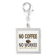 Archivist No Coffee No Workee Silver Square Charm