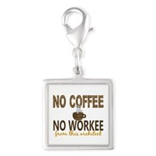 Architect No Coffee No Workee Silver Square Charm