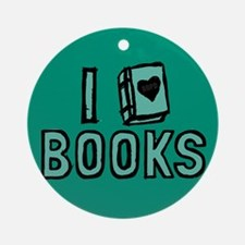 I Heart My Books Ornament (Round)