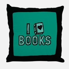 I Heart My Books Throw Pillow