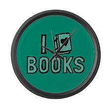 I Heart My Books Large Wall Clock