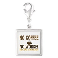 Archaeologist No Coffee No Wo Silver Square Charm