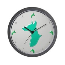Green & Silver Doberman Pinscher Wall Clock