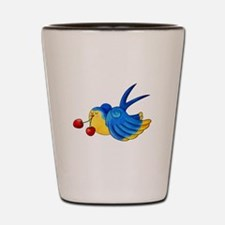 Cute Old School Swallow with Cherries Shot Glass