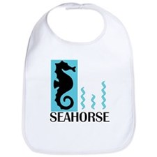 Turquoise Seahorse & Seaweed Bib