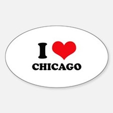 I Love (Heart) Chicago Oval Decal