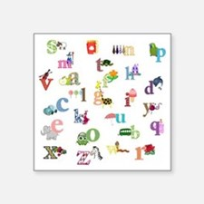"I learn the alphabet Square Sticker 3"" x 3"""