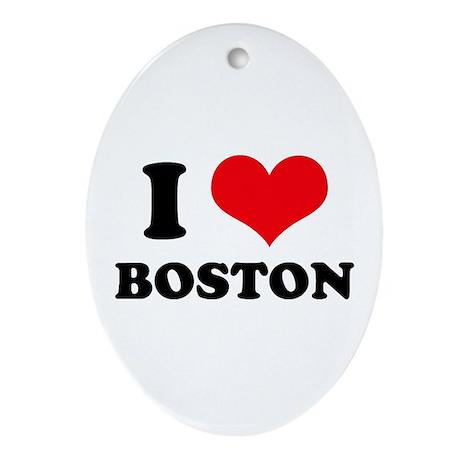I Love (Heart) Boston Oval Ornament