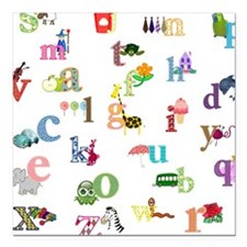 """I learn the alphabet Square Car Magnet 3"""" x 3"""""""