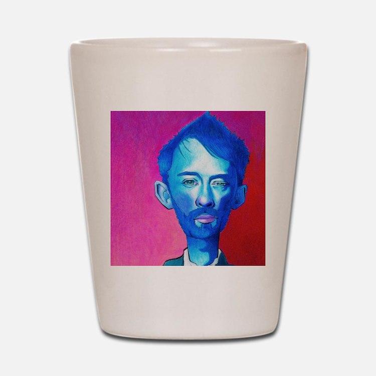 """Blue Thom Yorke"" Shot Glass"