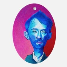 """Blue Thom Yorke"" Oval Ornament"