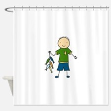 Boy Fishing Shower Curtain