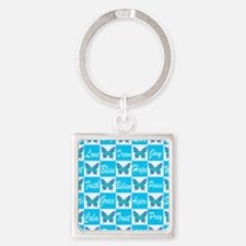 BLUE BUTTERFLY Square Keychain