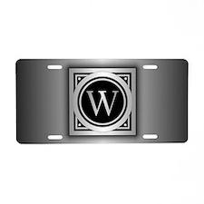 Deco Monogram W Aluminum License Plate
