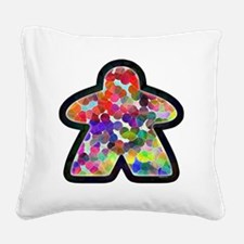 Stained Glass Meeple Square Canvas Pillow