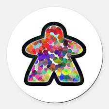 Stained Glass Meeple Round Car Magnet