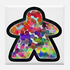 Stained Glass Meeple Tile Coaster