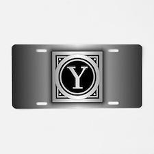 Deco Monogram Y Aluminum License Plate