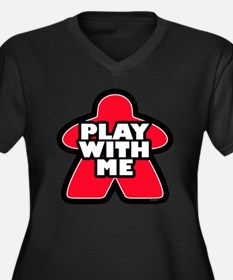 Play With me Women's Plus Size V-Neck Dark T-Shirt