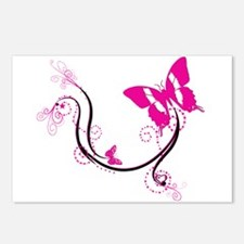 Pink butterfly flourish Postcards (Package of 8)
