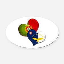 Portugal and Azores hearts Oval Car Magnet