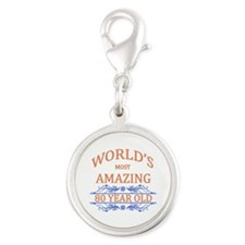 World's Most Amazing 80 Year O Silver Round Charm