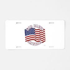 God Bless America With USA Flag Aluminum License P