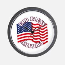 God Bless America With USA Flag Wall Clock
