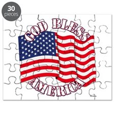 God Bless America With USA Flag Puzzle