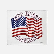 God Bless America With USA Flag Throw Blanket