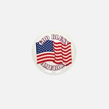 God Bless America With USA Flag Mini Button (10 pa