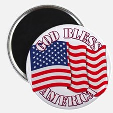 God Bless America With USA Flag Magnets