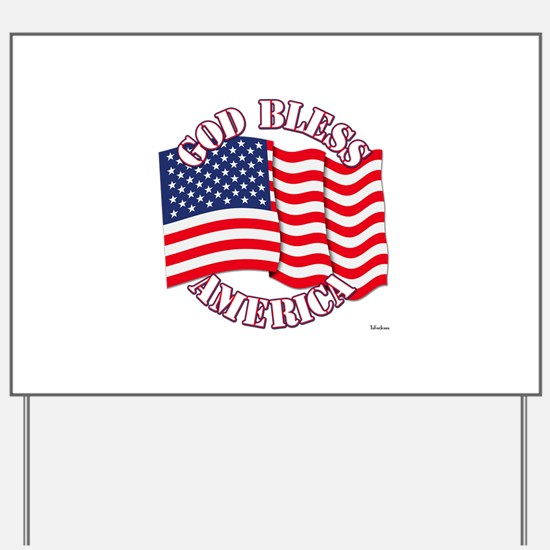 God Bless America With USA Flag Yard Sign