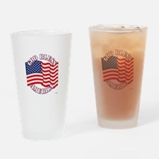 God Bless America With USA Flag Drinking Glass