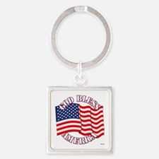 God Bless America With USA Flag Keychains