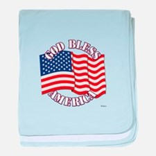 God Bless America With USA Flag baby blanket