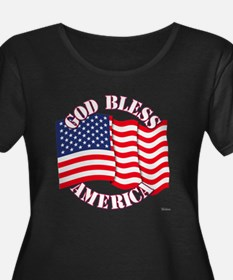 God Bless America With USA Flag Plus Size T-Shirt