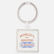 World's Most Amazing 16 Year Old Square Keychain