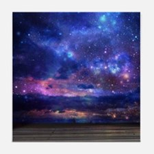 Surreal Galaxy Beach Scene Tile Coaster