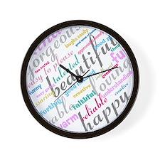 Positive Thinking Text Wall Clock