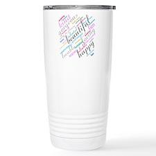 Positive Thinking Text Travel Mug